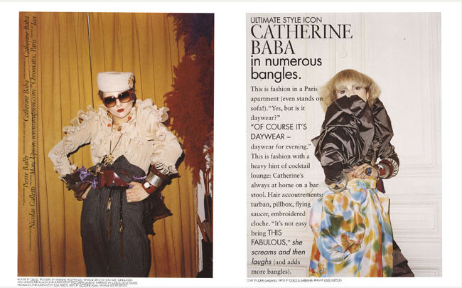 Fashion stylist and designer Catherine Baba.  Photo by Pierre Bailly for 10 magazine.