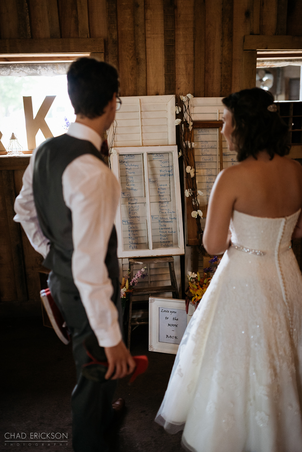 Couple looking at reception details
