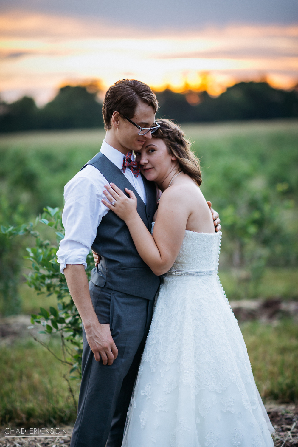 Wedding couple portrait at sunset