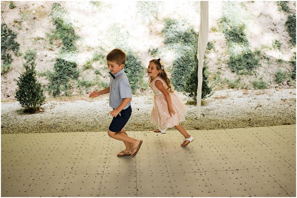 Children running on dance floor