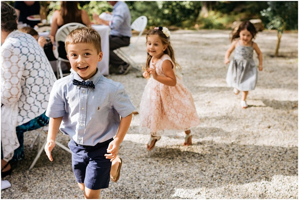 Kids running at nantahala wedding