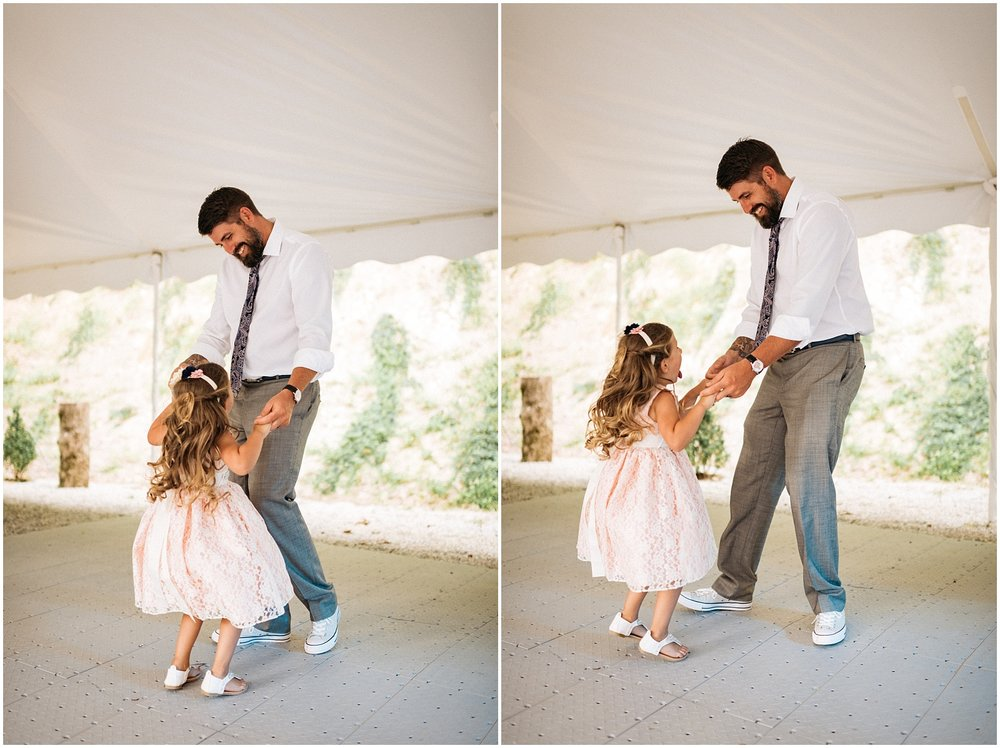 Collage of father and daughter dancing pictures