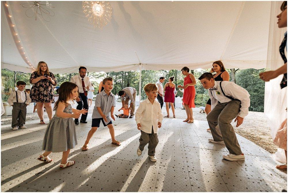 Kids in group on dance floor