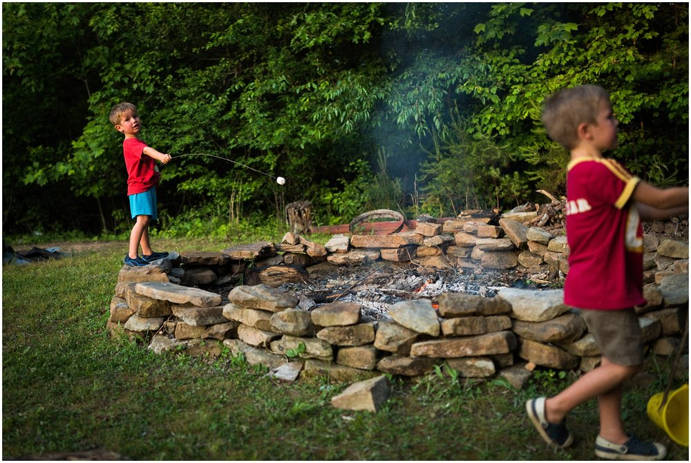 Kids roasting marshmallows