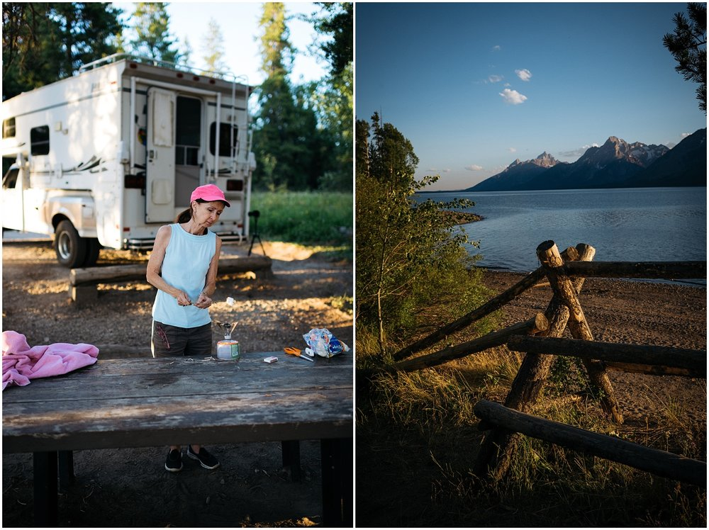 Collage of camping pictures at Tetons