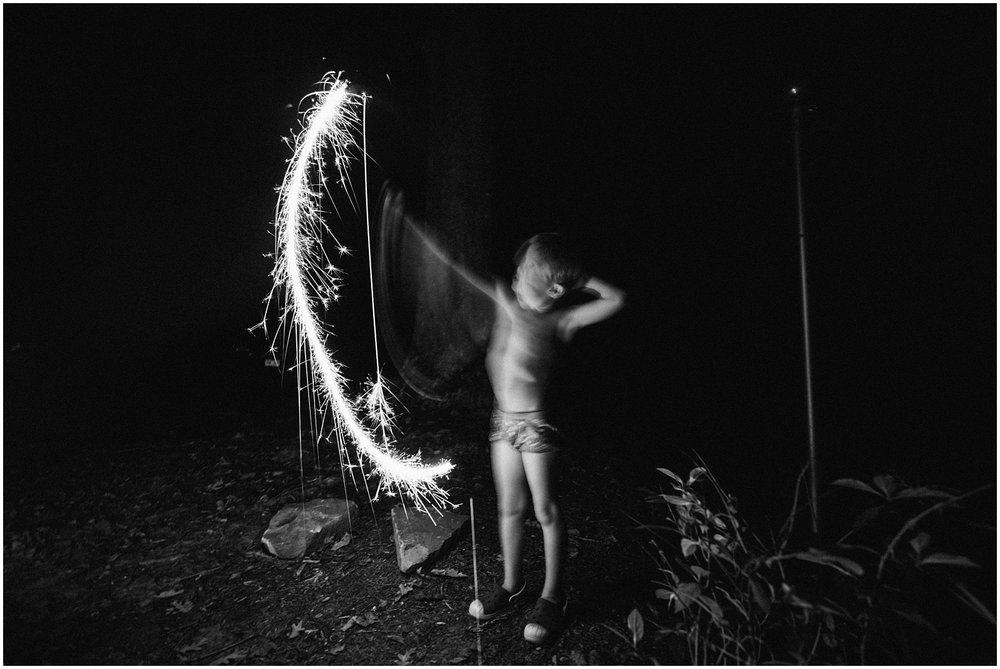 black and white long exposure with sparklers