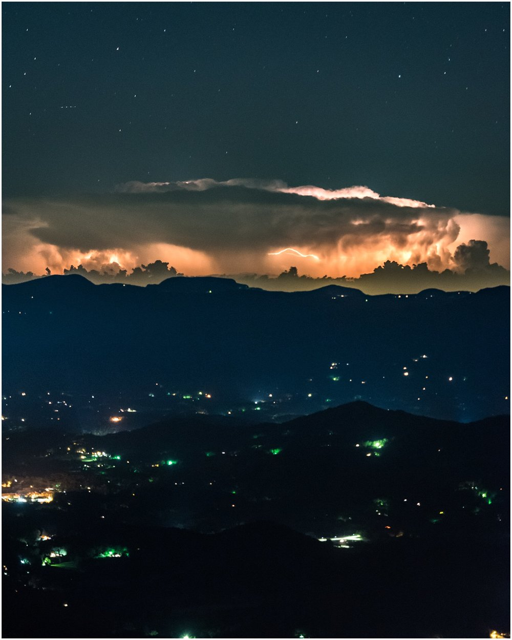 Lightning storm at night on Wayah Bald in North Carolina