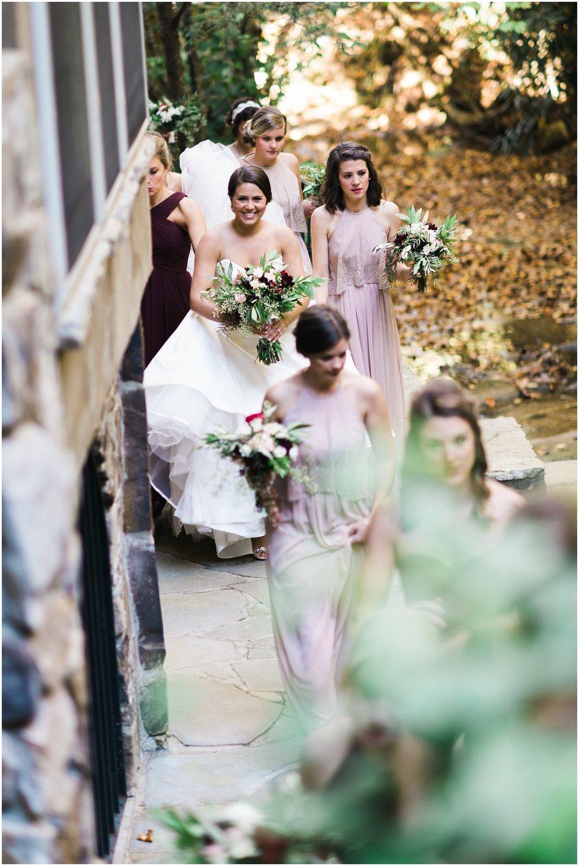 Bride walking candid