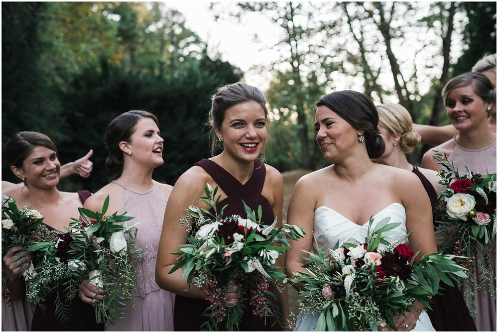 Candid of bridesmaids laughing