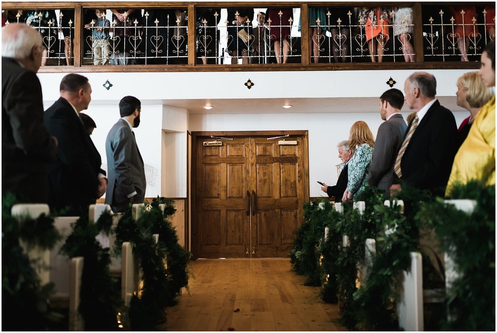 Doors closed in wedding chapel