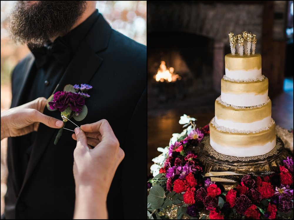 Flowers and wedding cake