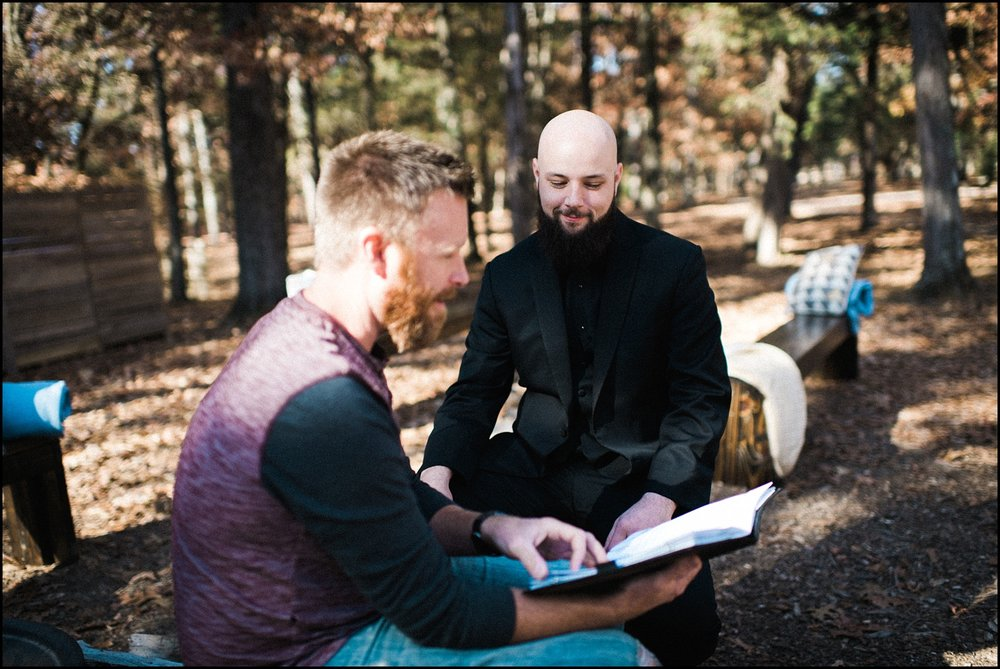 Groom and officiant