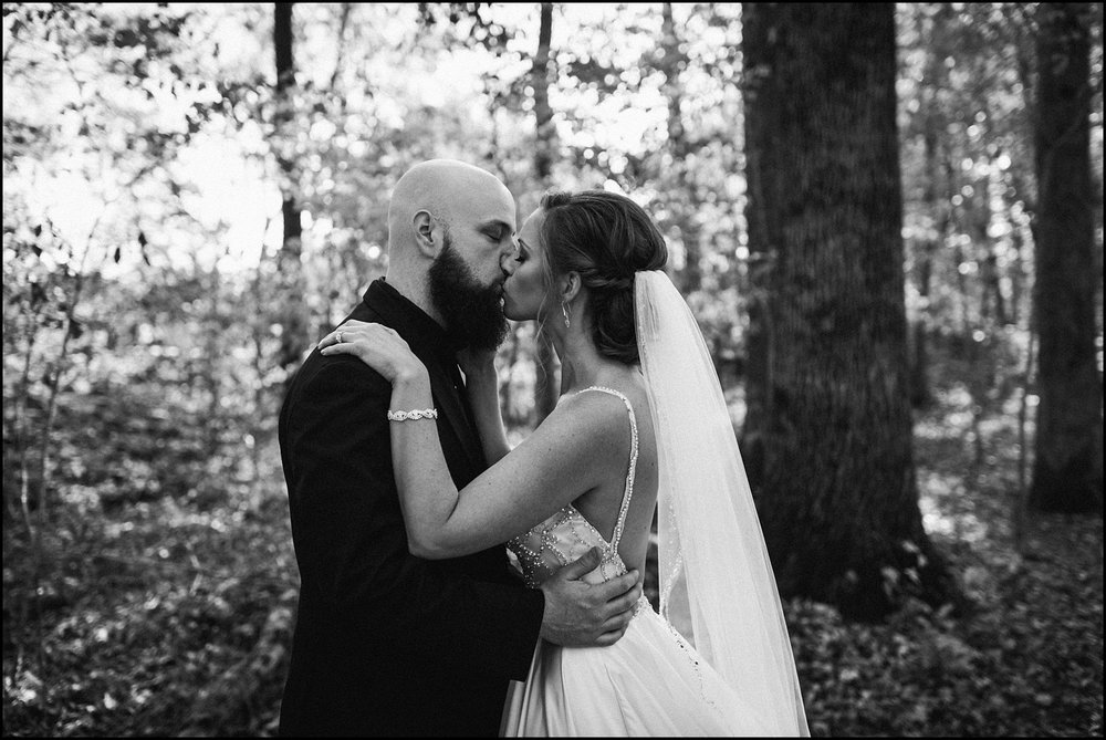First look kiss at Cedars of Lebanon State Park