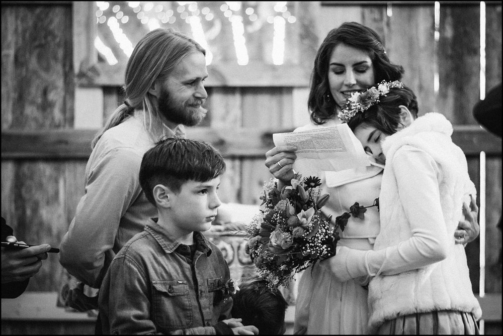 Candid moment during vows