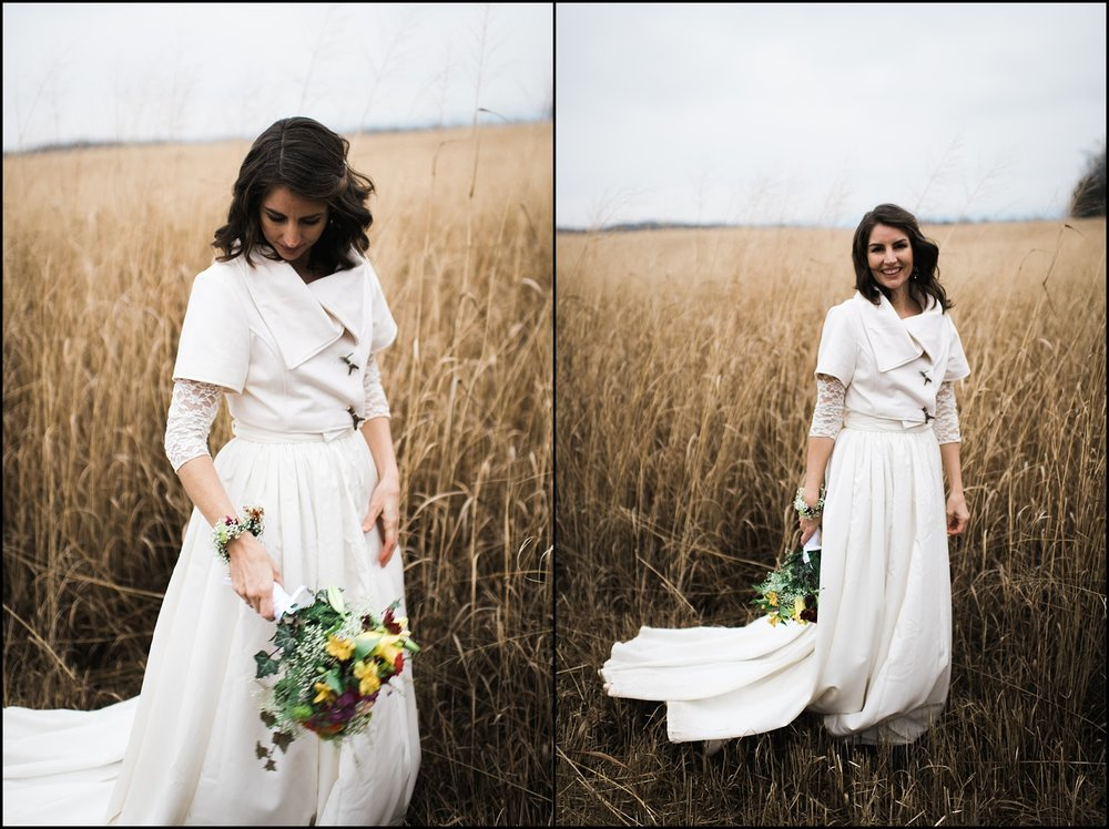 Bridal portraits in East Tennessee wheat field