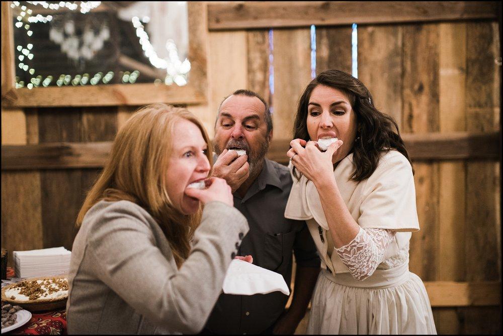Bride eating cookies
