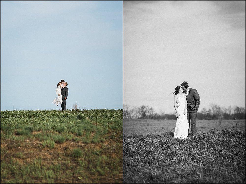 Wedding portraits in open field