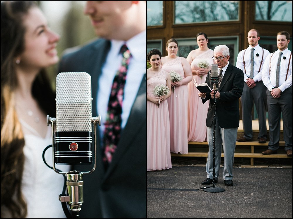 Bride and groom at microphone