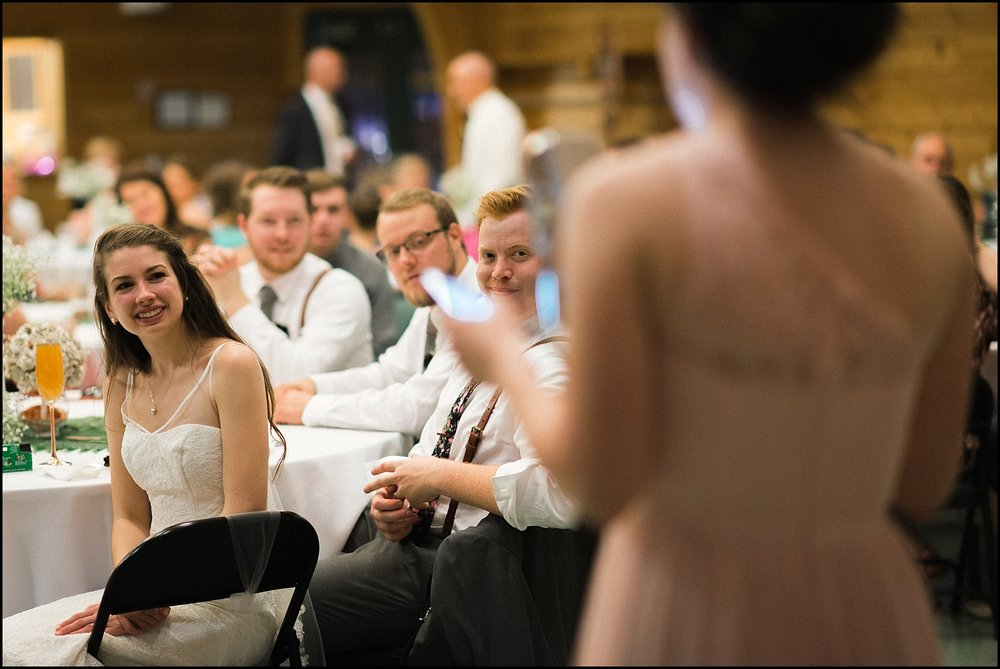 Candid of bride during toast
