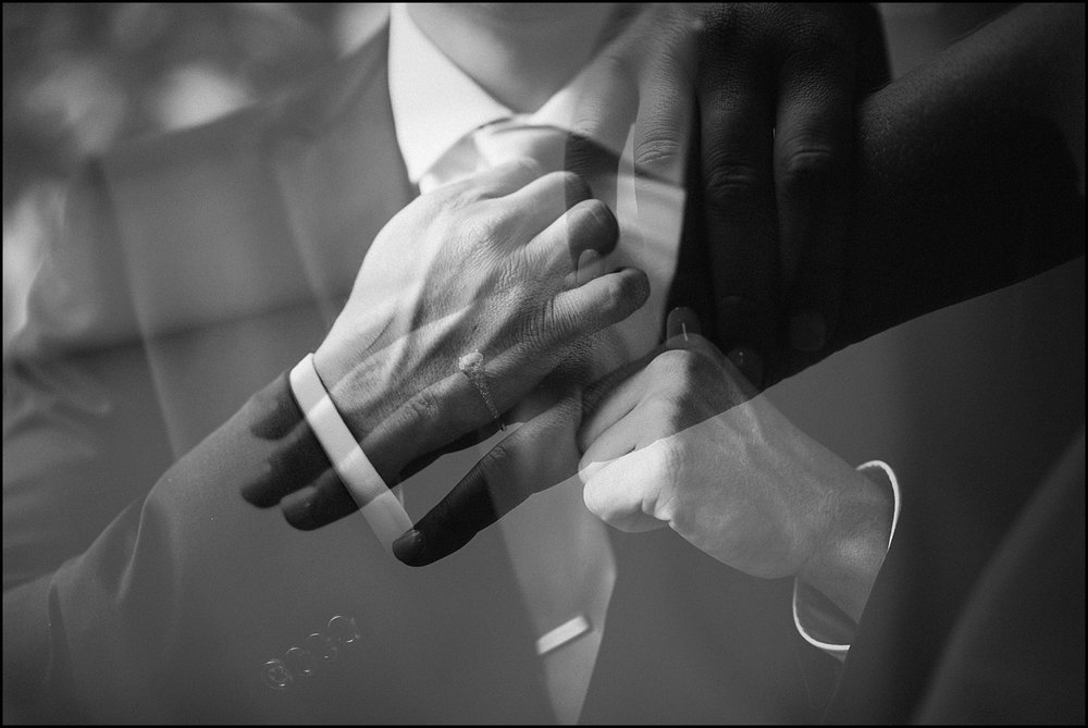 B&W double exposure wedding