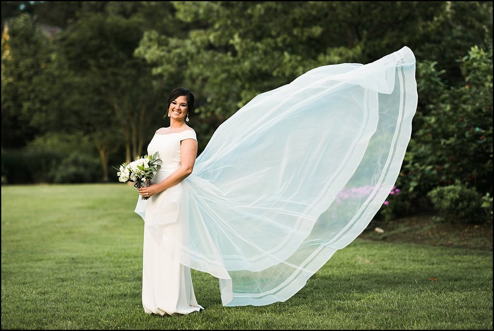 Bridal portrait with flowing veil