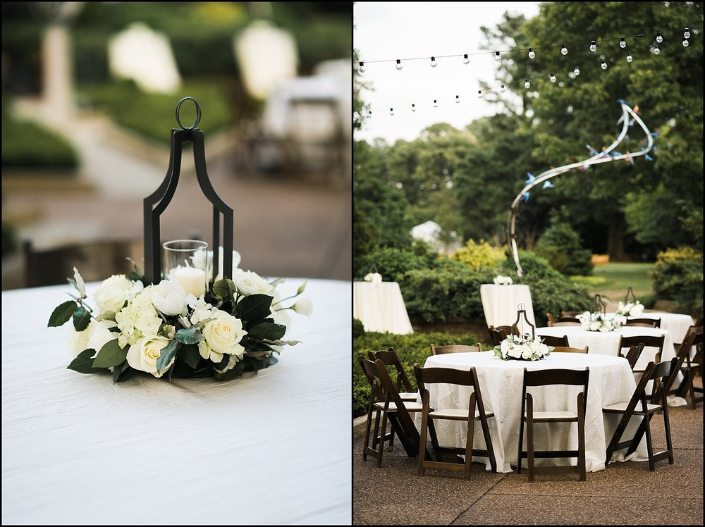 Reception tables and flowers