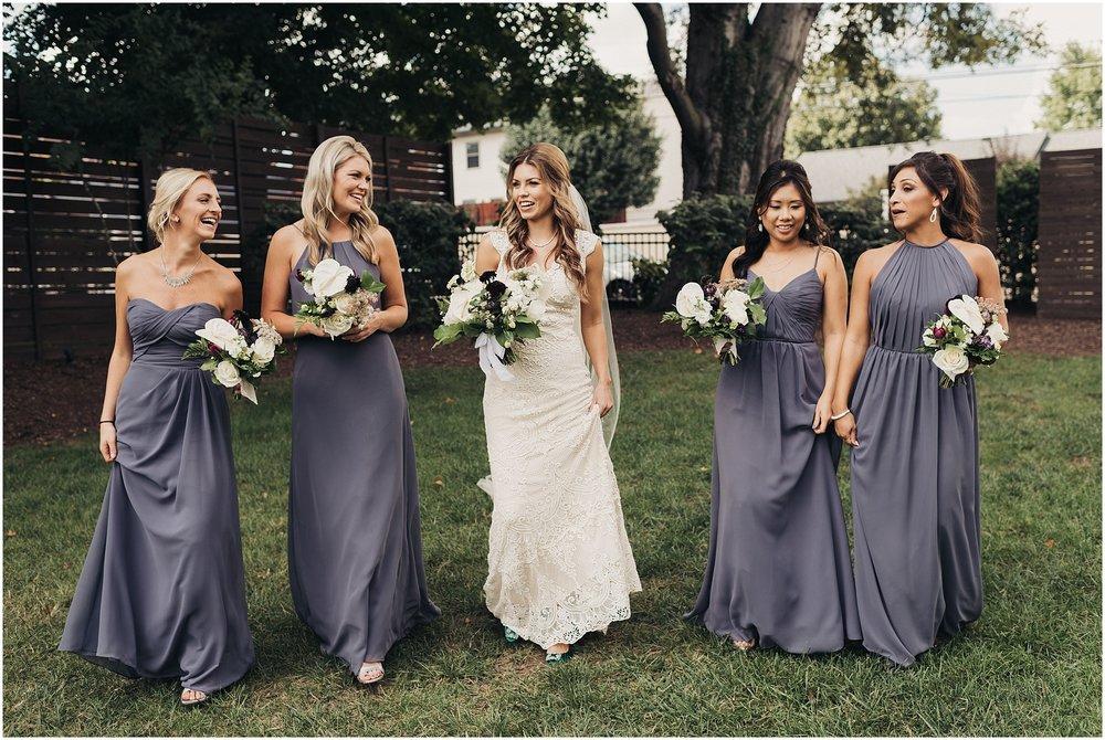 Bridesmaids walking