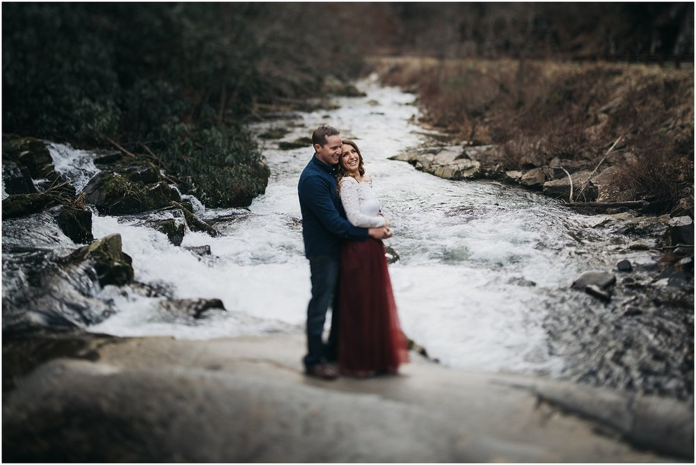 Epic waterfall engagement shot