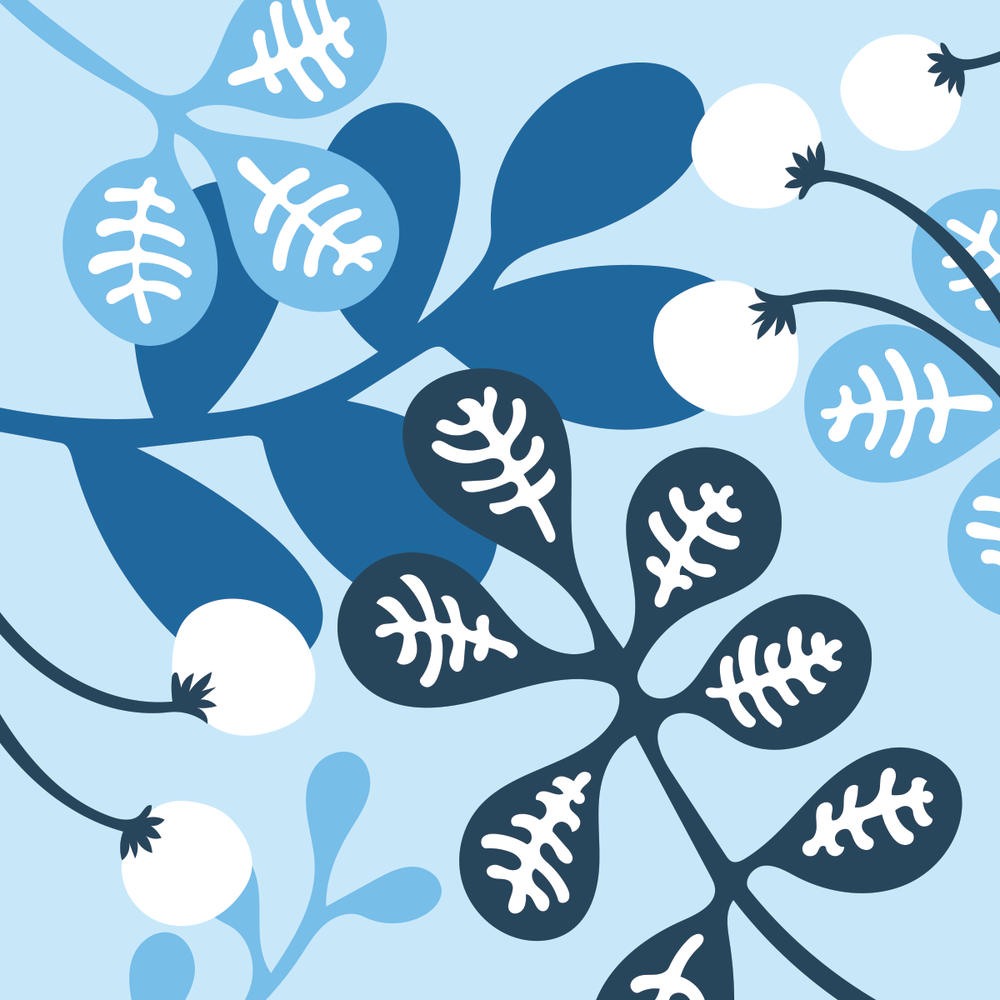 Blue leaves pattern by Pace Creative Design Studio