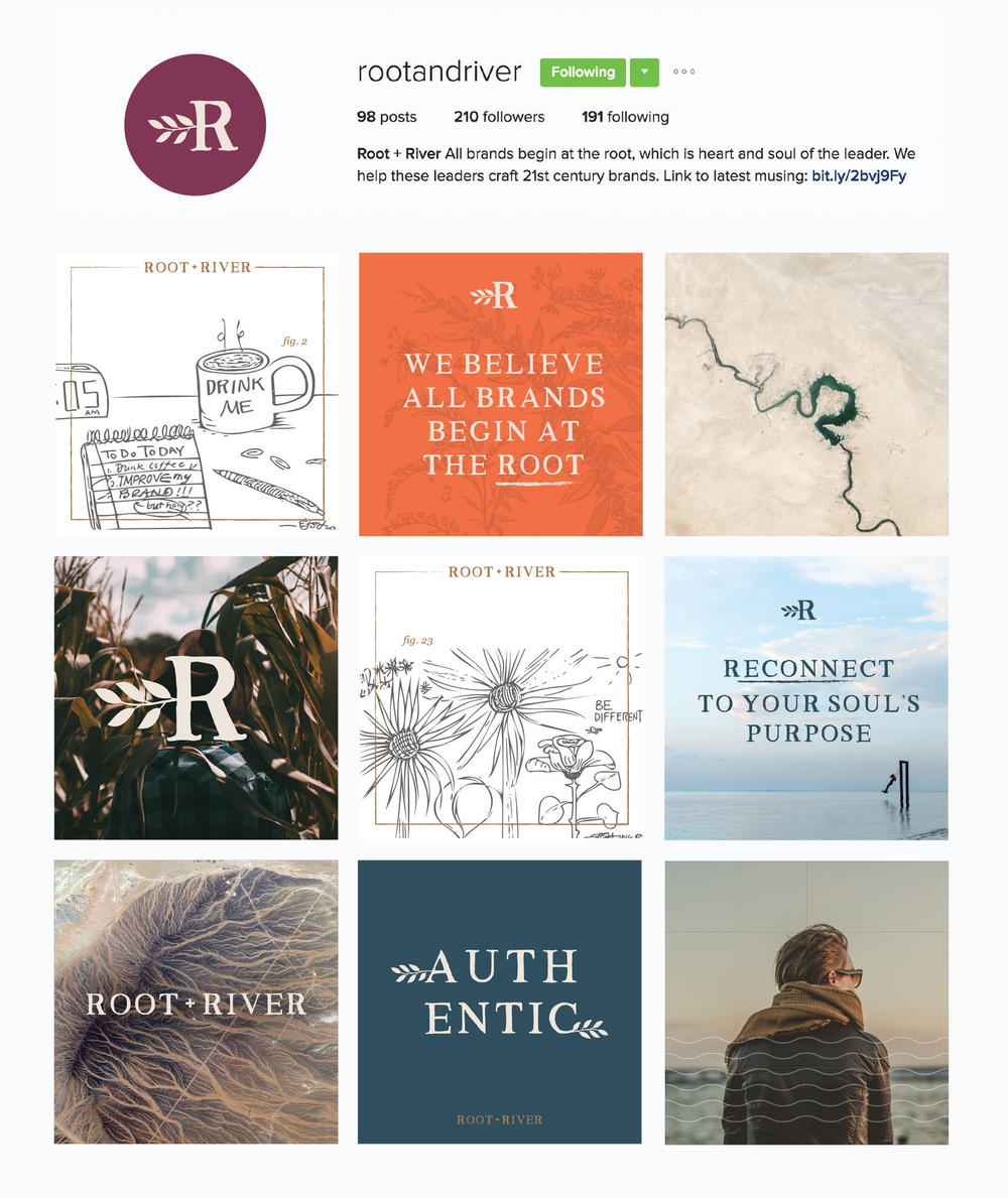 root + river branded social media by Pace Creative Design Studio