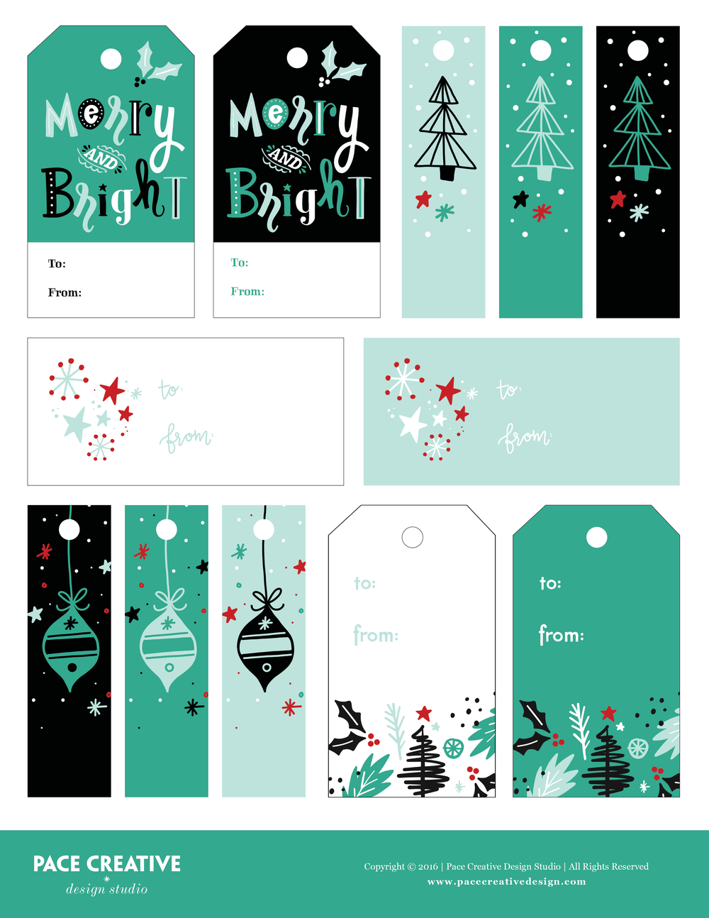 FREE holiday tags printable by Pace Creative Design Studio