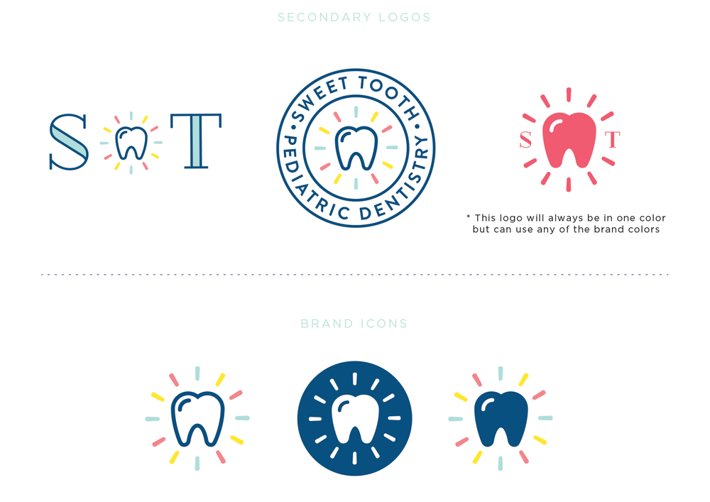 Sweet Tooth Pediatric Dentistry brand design by Pace Creative Design Studio
