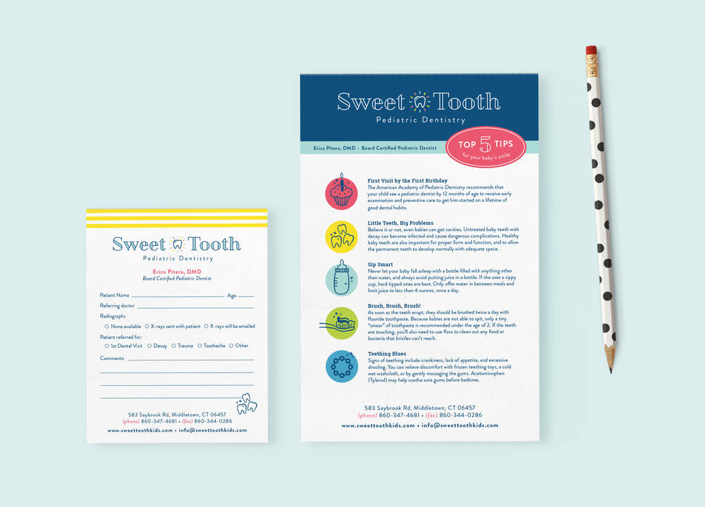 Sweet Tooth Pediatric Dentistry referral pad designs by Pace Creative Design Studio