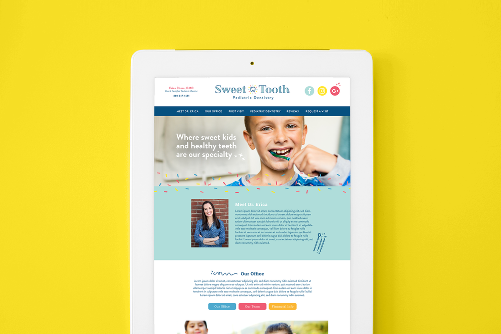 Sweet Tooth Pediatric Dentistry web design by Pace Creative Design Studio