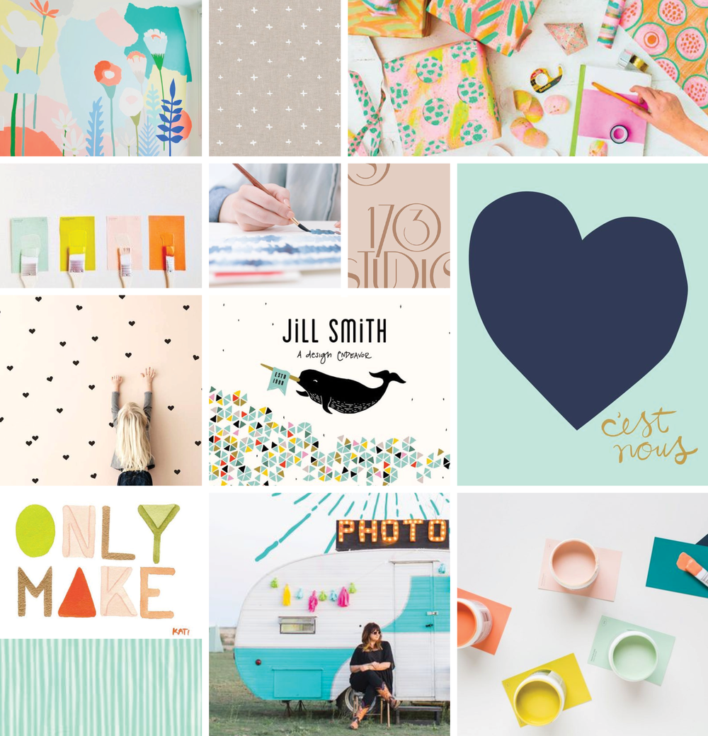 visual brand vibe: creative, whimsical, crafted + playful