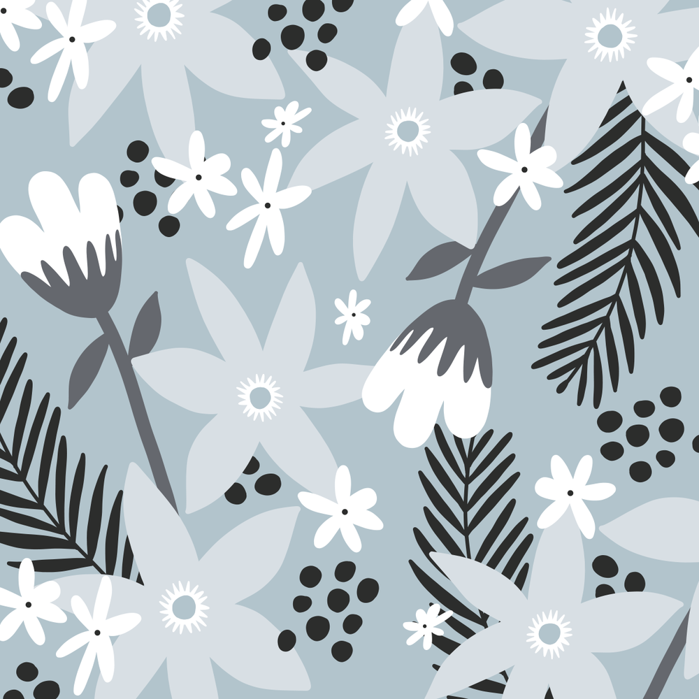 Grey Floral pattern by Pace Creative Design Studio
