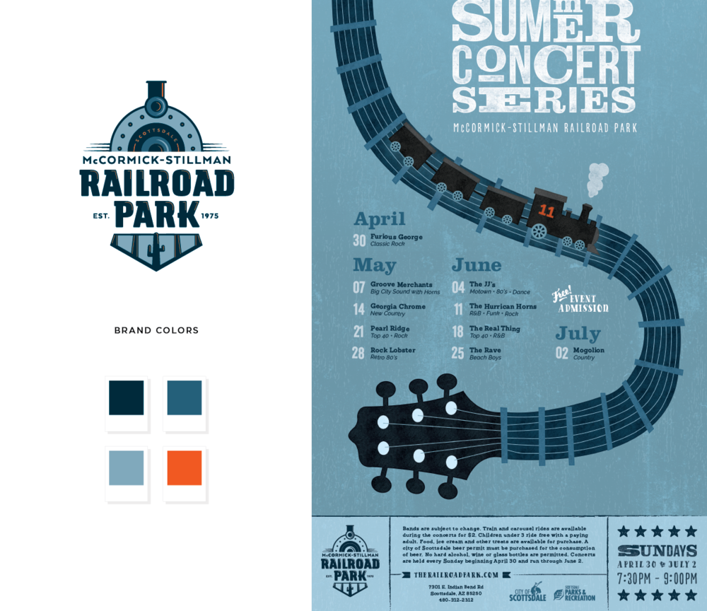 Railroad Park - Summer Concert Series event branding by Pace Creative Design Studio