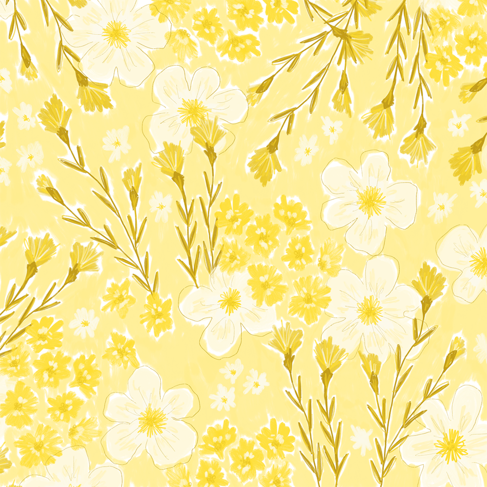 Yellow Floral pattern sketch | Color Diaries: Yellow | Pace Creative Design Studio