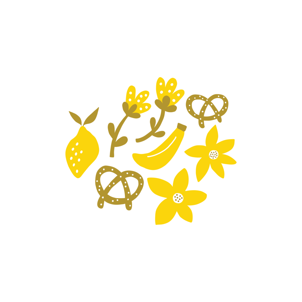 Cute food illustrations by Jen Duran of Pace Creative Design Studio | Designed for the series Color Diaries: Yellow