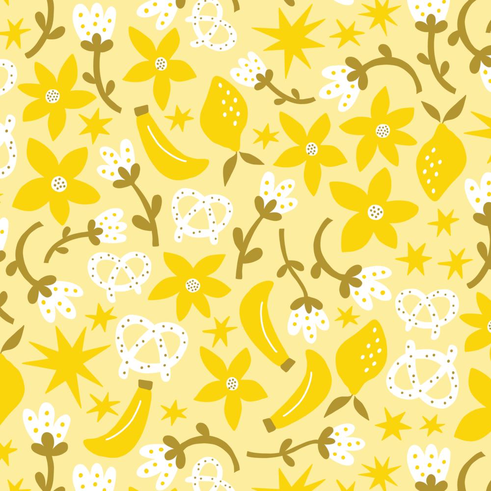 Lemon Pretzel Banana pattern by Jen Duran of Pace Creative Design Studio | Designed for the series Color Diaries: Yellow
