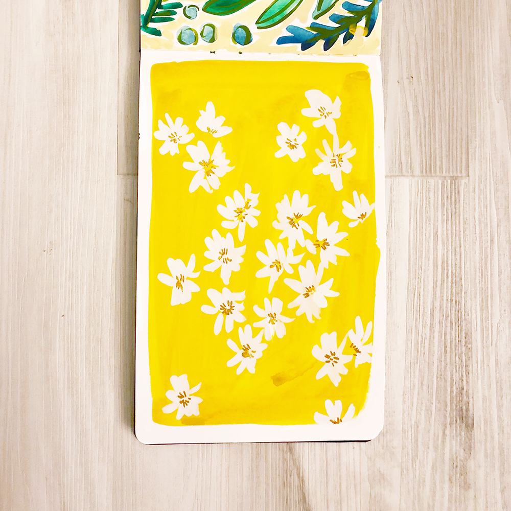 Yellow floral painted pattern in sketch by Jen Duran of Pace Creative Design Studio | Color Diaries: Yellow