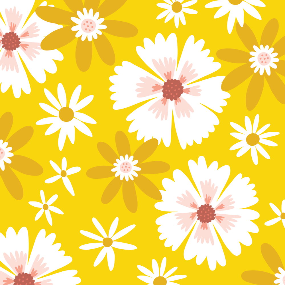 Yellow Spring Floral pattern by Jen Duran of Pace Creative Design Studio | Color Diaries: Yellow Series