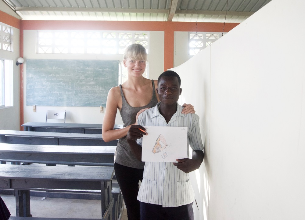 Aura Copeland with Tilus at Pierre Maurice School in Delmas 31, Haiti