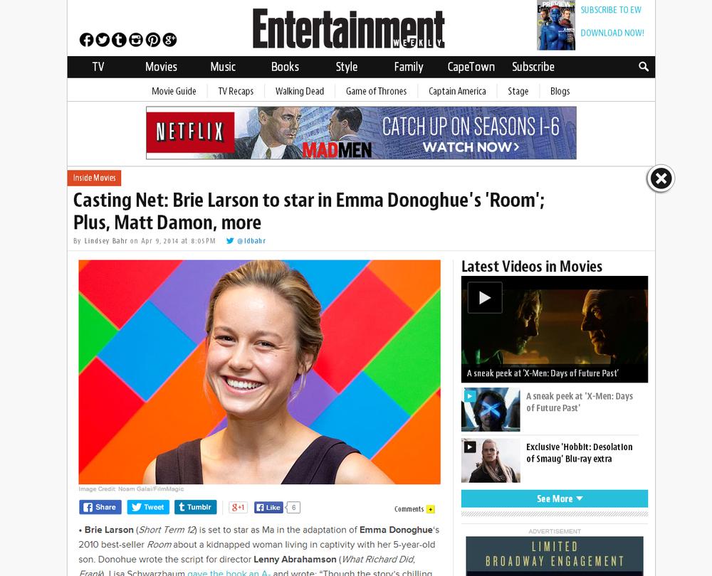 Publications Noam Galai Austin Sandal Mercedes Navy 38 Entertainment Weekly Brie Larson 10 4 14