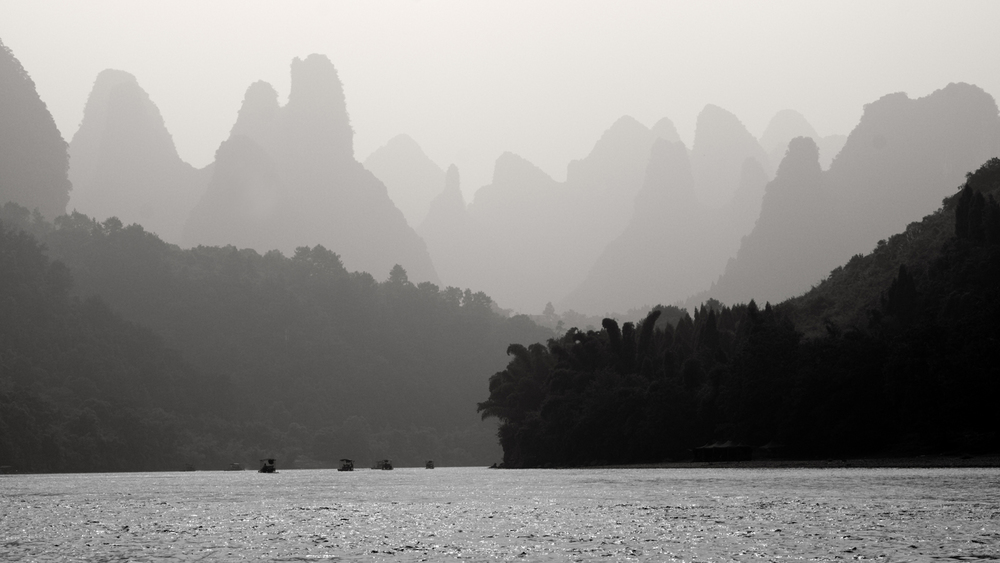 picture of the peaks around the li river in black and white, yangshou,guilin, china
