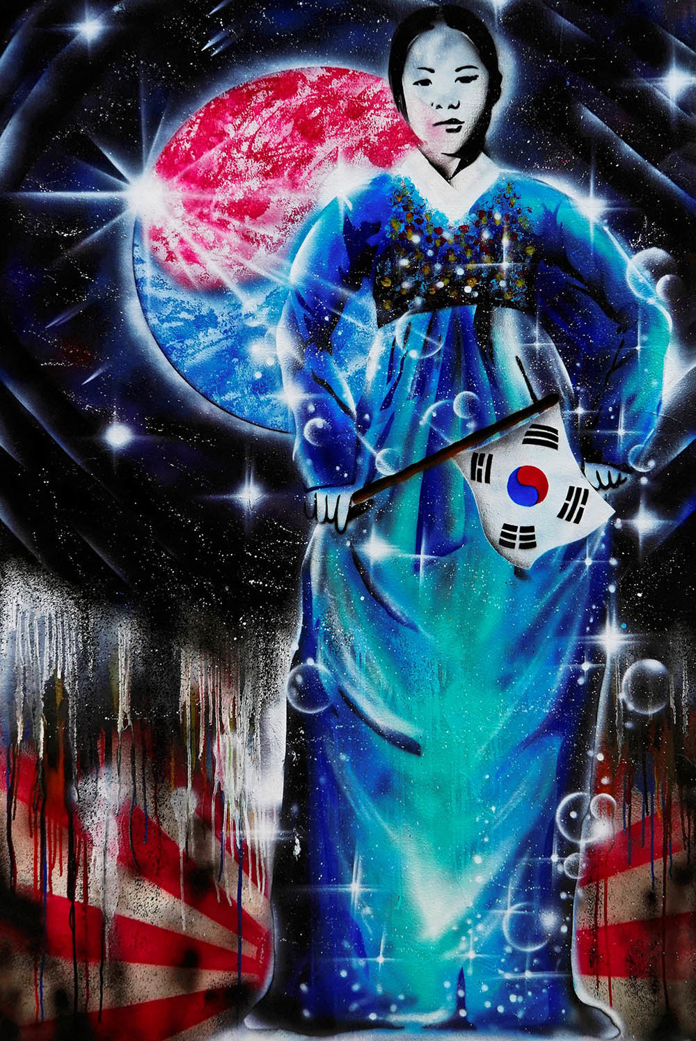 street art graffiti of a woman in a blue hanbok with a korean flag in bukchon seoul