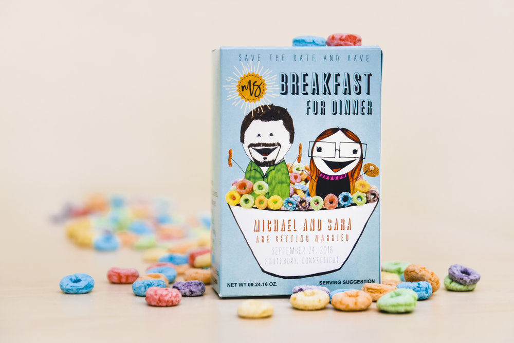 ^Save-the-Date cereal boxes.