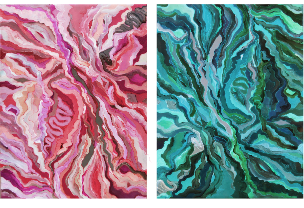 Pleasures,   (2012)   Acrylic, Ink and Resin on canvas   24 × 18 in (each)