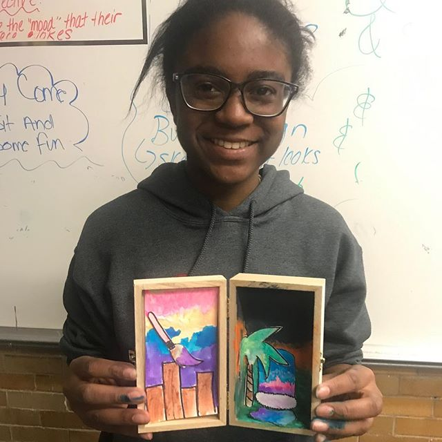 Part 2: they've put their little illustrations into small wooden boxes. These boxes are meant to provide #comfort #inspire change and  #represent our creative side!  We were inspired by Dutch illustrator #kimwelling #craftclubboston #handmade #sharpie #watercolor #makesomething