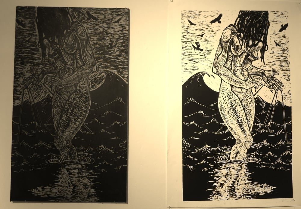 Untether woodcut with plate 4' tall.JPG